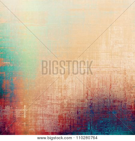 Grunge texture with decorative elements and different color patterns: yellow (beige); blue; purple (violet); red (orange)
