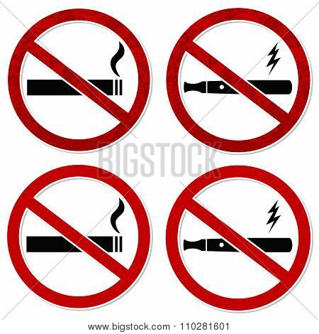 No Smoking Sign Vector Cigarette And Vaporizer