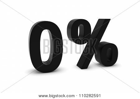 0% - Zero Percent Black 3D Text Isolated On White
