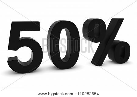 50% - Fifty Percent Black 3D Text Isolated On White