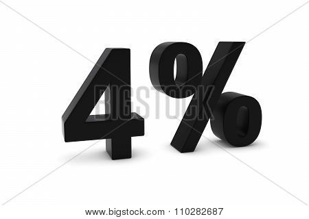 4% - Four Percent Black 3D Text Isolated On White