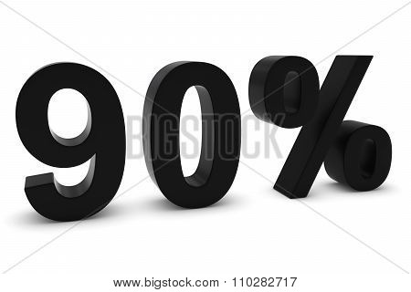 90% - Ninety Percent Black 3D Text Isolated On White