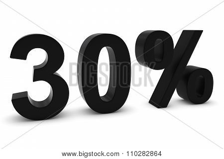 30% - Thirty Percent Black 3D Text Isolated On White