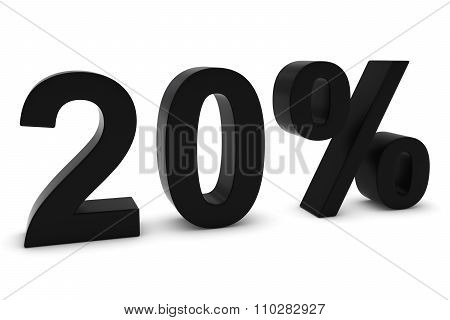 20% - Twenty Percent Black 3D Text Isolated On White