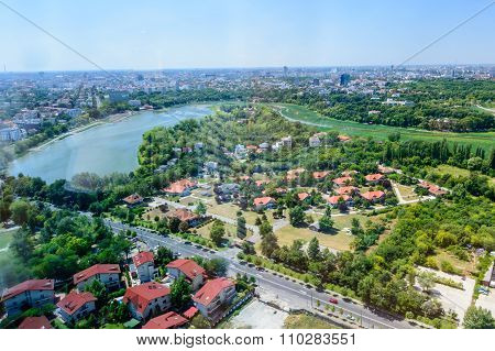 Bucharest, Romania - October 25, 2015: Bucharest North Side, Herastrau Lake And Park (parcul Her?str