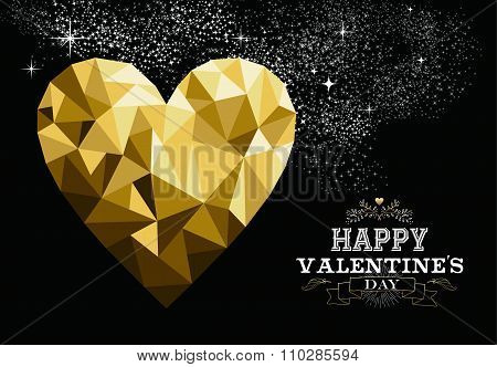 Happy Valentines Day Gold Low Poly Heart Love Card