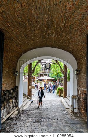 Bucharest, Romania - October 25, 2015: Manuc's Inn (hanul Lui Manuc) Built In 1808 Is The Oldest Hot