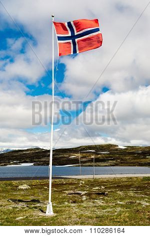 Norwegian Flag On Flagpole In Norway