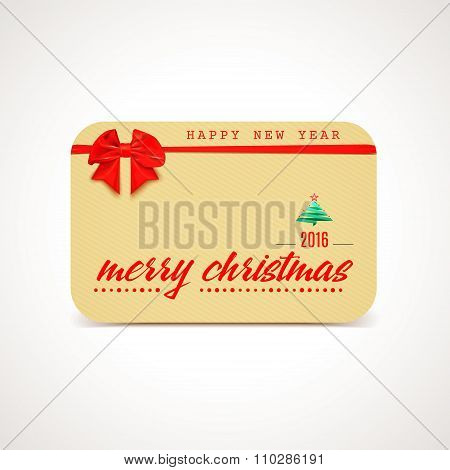 Merry Christmas greeting card with bow and ribon