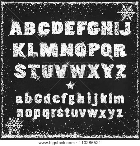 Snow alphabet of capital and small letters, vector abstraction illustration.