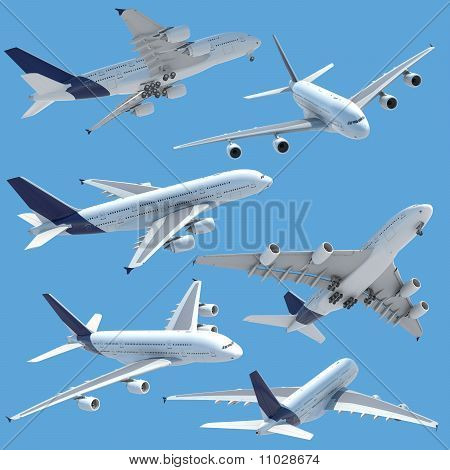Airplane Collection Set Isolated