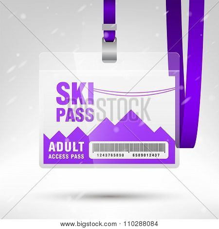 Ski Pass Vector Illustration. Blank Ski Pass Template With Barcode In Plastic Holder With Violet Lan