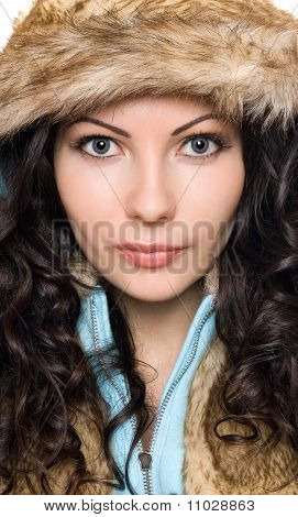 Closeup Portrait Of Beautiful Young Brunette