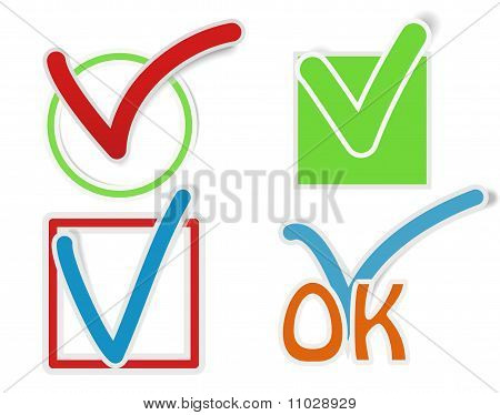 Pegatinas de la marca de verificación