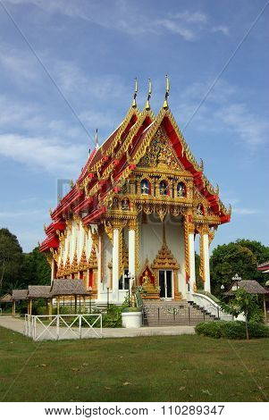 Krabi, Thailand - January, 2014: Temple Wat Phokha Juthamat In Krabi, Thailand