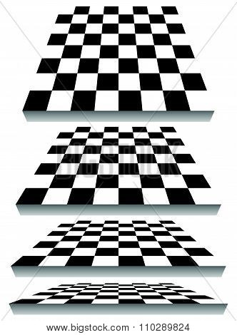 Set Of Chessboard, Checkered Board Shapes In Different Perspective
