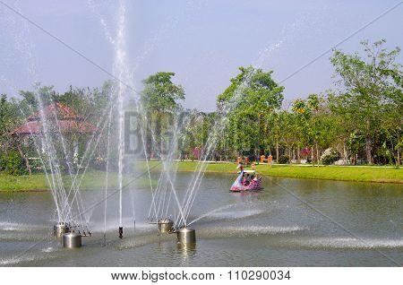 Kamphaeng Phet, Thailand - January, 2015: Phra Ruang Hot Springs, Kamphaeng Phet