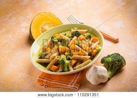pasta with broccoli and pumpkin