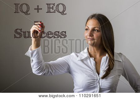 Iq + Eq = Success - Beautiful Girl Writing On Transparent Surface