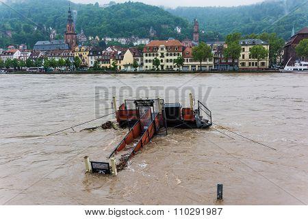 Heidelberg, Germany - November 22, 2015 - Flood In Heidelberg