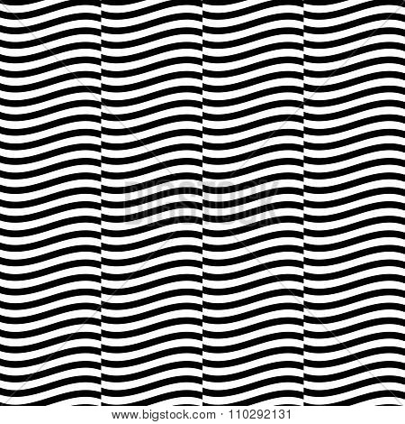 Seamless Pattern With Wavy, Waving Parallel Lines.