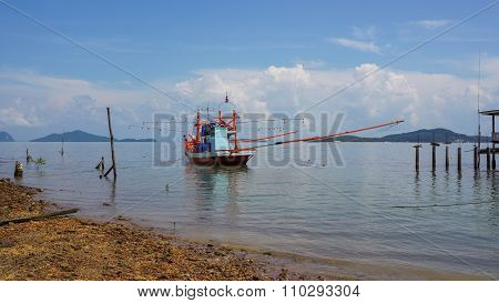 Thai Fisher Boat At The Coast