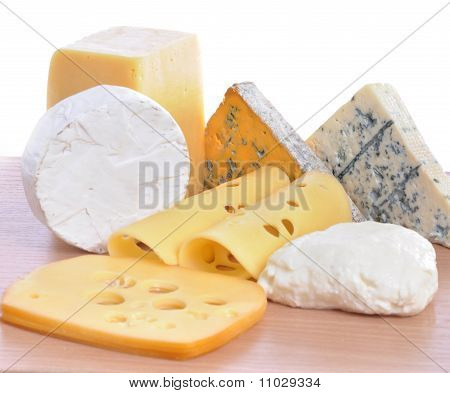 Various Types Of Cheeses Isolated