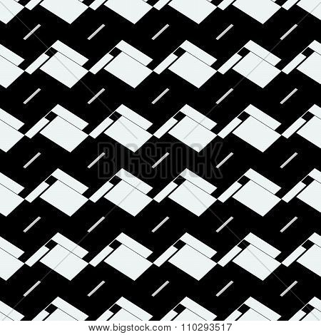 Black And White Geometric, Seamless, Tileable Background, Pattern. Vector.