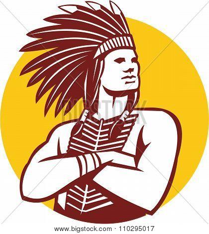 Native American Indian Chief Warrior Circle Retro