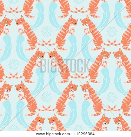 Cat Playing With A Tangle And A Feather. Seamless Pattern Vector Illustration