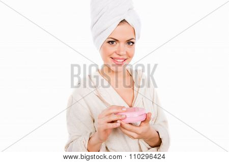 Nice Pretty Girl In Bathroom Holding Cosmetic Jar