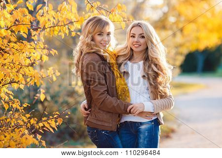 Two beautiful blonde in autumn park