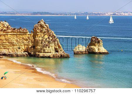 Dona Ana Beach In Lagos, Portugal