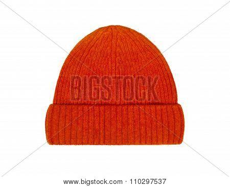 Orange Wool Hat Isolated On White Background