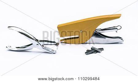 Yellow Stapler, Steel Staple Remover, Metal Staple In White Background Office