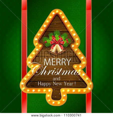 Christmas Banner With Bells On Green Background
