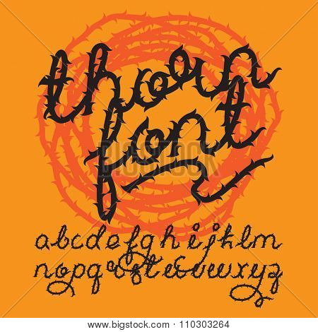 Thorn alphabet vector font. Brush script letters. Stock vector lettering typography