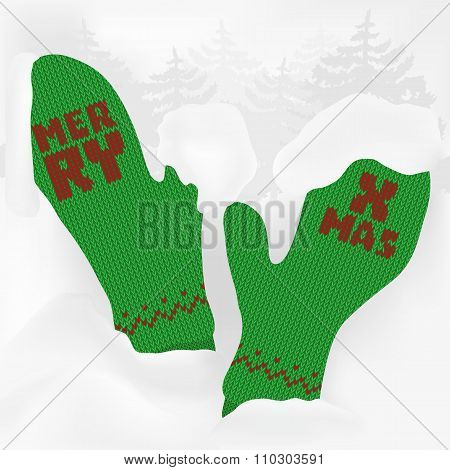 Cuddly Green Vintage Contrastfull Knitted Mittens