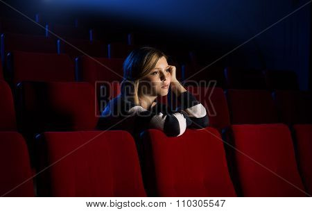 Young Woman At The Cinema
