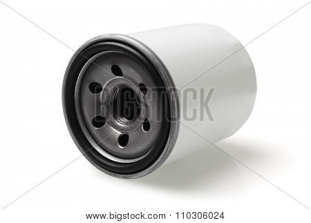 Automotive Oil Filter Lying on White Background