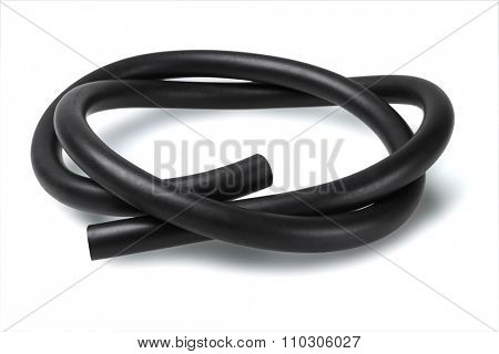 Black Rubber Fuel Hose on White Background