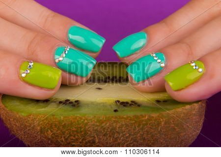 Professional bright manicure. Beautiful color manicure