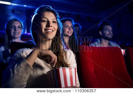 Young Woman In The Movie Theater