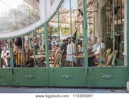 People Relax At Busy Cafe Across From Jardin De Luxembourg, Paris
