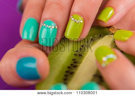 Professional bright manicure. Beautiful color manicure