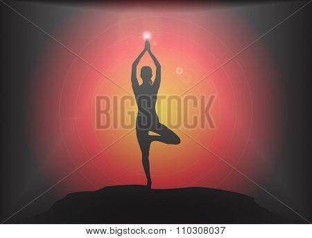 Yoga Tree Pose Glare Background