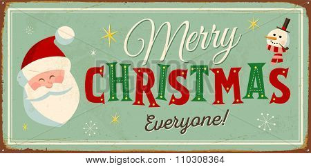 Vintage Metal Sign - Merry Christmas Everyone! - Vector EPS10. Grunge effects can be easily removed for a brand new, clean design.