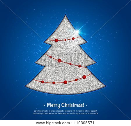 Silver Christmas tree and fairy lights, design greeting card