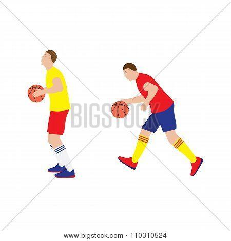 Basketball Player With The Ball.