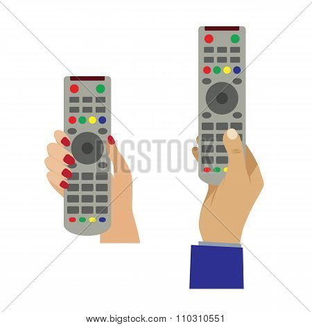 Hand With A Remote Control.